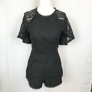 Line & Dot Black Lyon Lace  Embroidered Romper